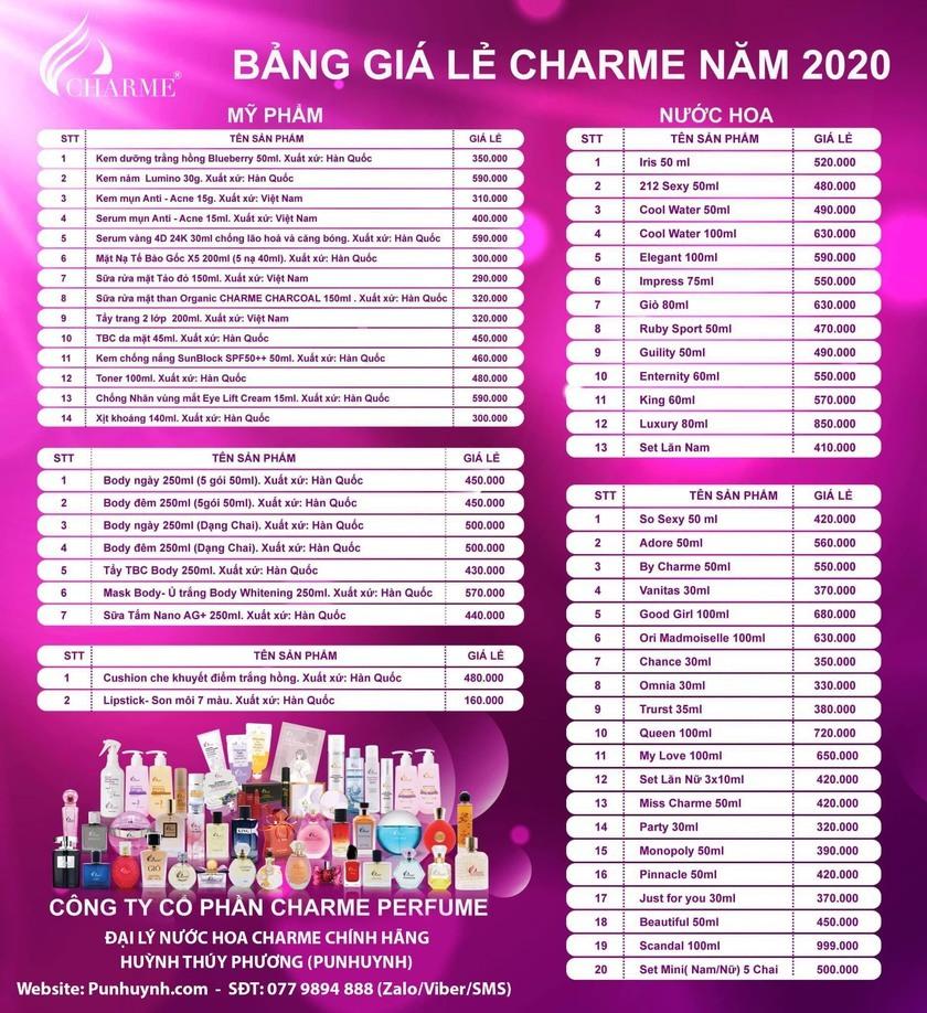 Bảng giá lẻ nước hoa Charme 2020