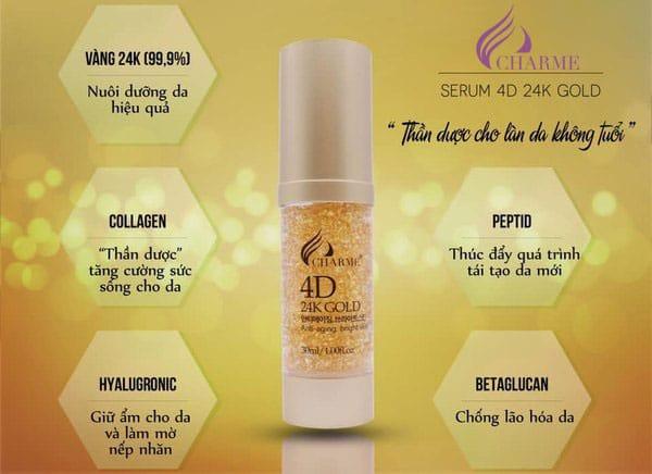 Công dụng chính của Serum 24k Gold Charme 4D