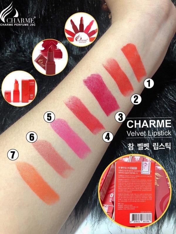 Bảng màu son sáp Charme Velvet Lipstick